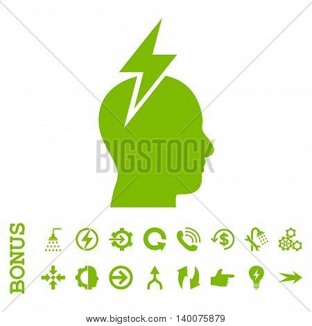 Headache glyph icon. Image style is a flat iconic symbol, eco green color, white background.