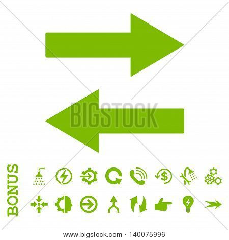 Horizontal Flip Arrows glyph icon. Image style is a flat pictogram symbol, eco green color, white background.