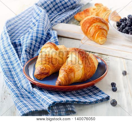 Fresh Croissants With Blueberries For Breakfast.