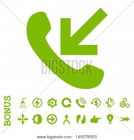 Incoming Call glyph icon. Image style is a flat pictogram symbol, eco green color, white background.