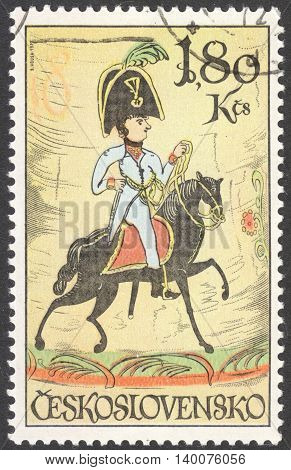 MOSCOW RUSSIA - CIRCA FEBRUARY 2016: a post stamp printed in CZECHOSLOVAKIA shows a nobleman's guard Bohemia the series