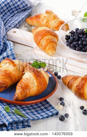 Fresh Croissants With Berries For A Breakfast.