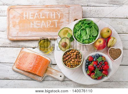 Foods For Healthy Heart. Balanced Diet Eating.
