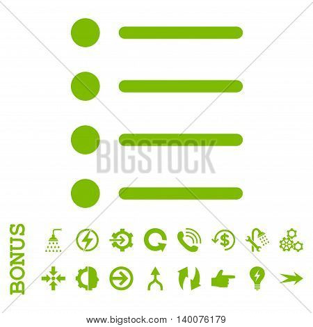 Items glyph icon. Image style is a flat pictogram symbol, eco green color, white background.
