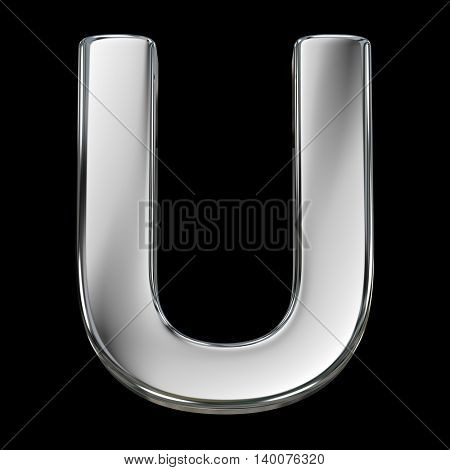 Letter U from chrome solid alphabet isolated on white