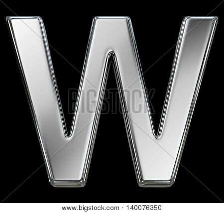 Letter W from chrome solid alphabet isolated on white