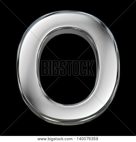 Letter O from chrome solid alphabet isolated on white