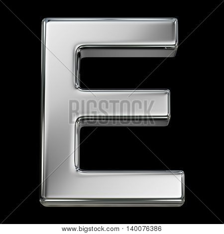 Letter E from chrome solid alphabet isolated on white