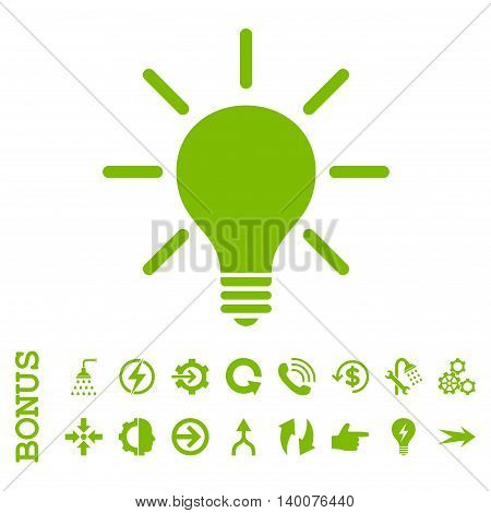 Light Bulb glyph icon. Image style is a flat pictogram symbol, eco green color, white background.