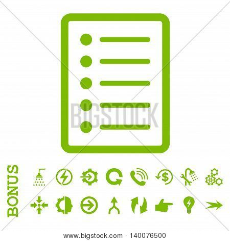 List Page glyph icon. Image style is a flat pictogram symbol, eco green color, white background.