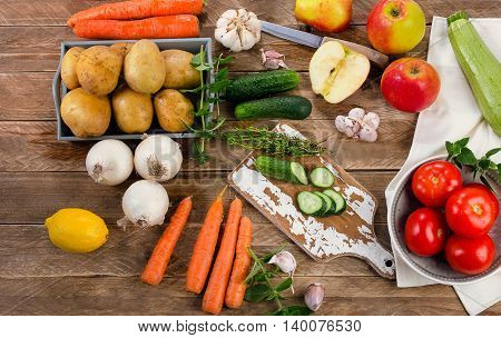 Raw Organic Vegetables. Healthy Food Background. Diet Eating