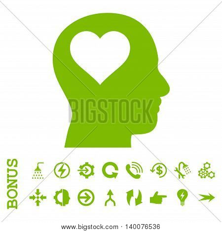 Lover Head glyph icon. Image style is a flat pictogram symbol, eco green color, white background.