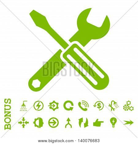Options glyph icon. Image style is a flat pictogram symbol, eco green color, white background.