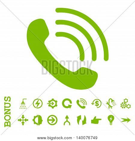 Phone Call glyph icon. Image style is a flat pictogram symbol, eco green color, white background.
