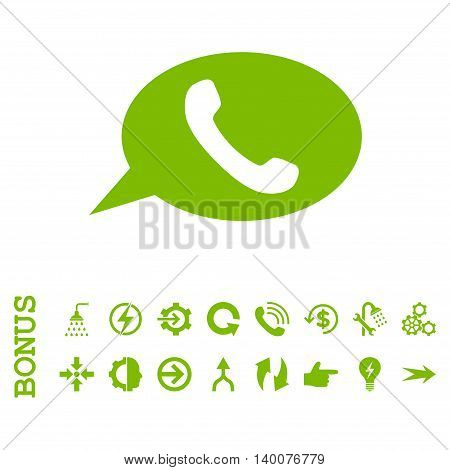 Phone Message glyph icon. Image style is a flat iconic symbol, eco green color, white background.