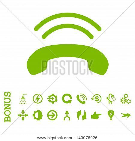 Phone Ring glyph icon. Image style is a flat iconic symbol, eco green color, white background.