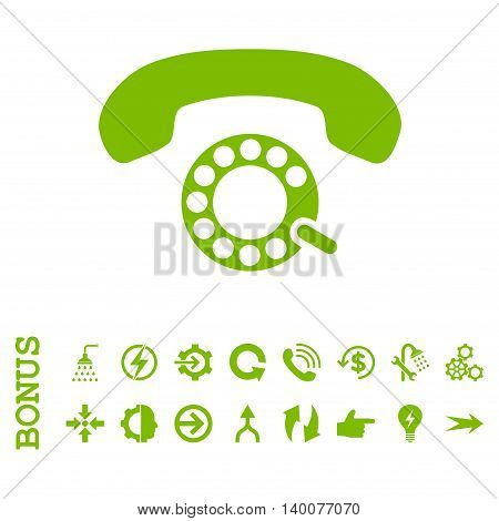 Pulse Dialing glyph icon. Image style is a flat pictogram symbol, eco green color, white background.