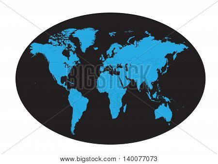World map planet blue color flat design