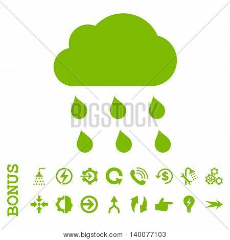Rain Cloud glyph icon. Image style is a flat iconic symbol, eco green color, white background.