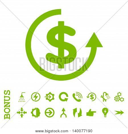 Refund glyph icon. Image style is a flat pictogram symbol, eco green color, white background.