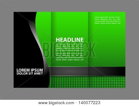 Tri-fold brochure template design with orange color