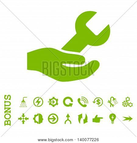 Repair Service glyph icon. Image style is a flat iconic symbol, eco green color, white background.