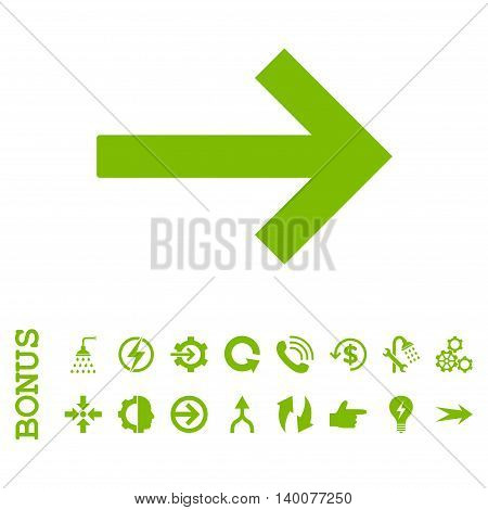 Right Arrow glyph icon. Image style is a flat pictogram symbol, eco green color, white background.