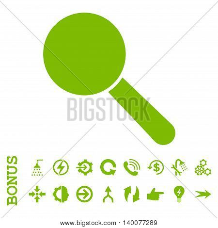 Search Tool glyph icon. Image style is a flat pictogram symbol, eco green color, white background.