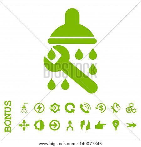 Shower Plumbing glyph icon. Image style is a flat iconic symbol, eco green color, white background.
