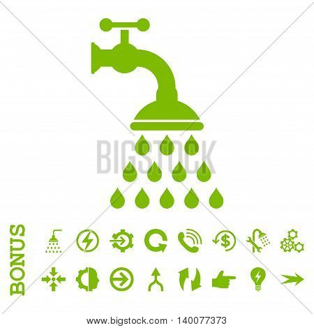 Shower Tap glyph icon. Image style is a flat pictogram symbol, eco green color, white background.