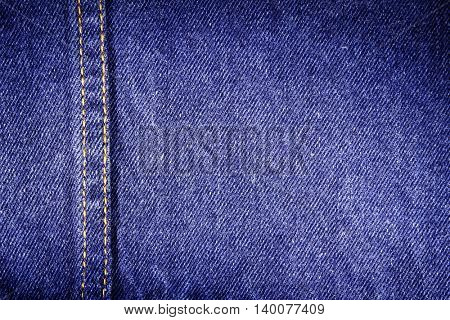 Closeup of blue denim fabric