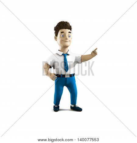 Cool volume business man in cartoon style. 3D person for presentation, print, advertising, web and business. Smiling young manager point the forefinger. Modern and cool style illustration.
