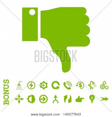 Thumb Down glyph icon. Image style is a flat pictogram symbol, eco green color, white background.