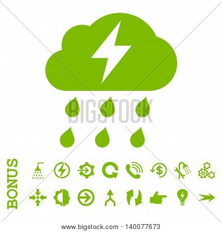 Thunderstorm glyph icon. Image style is a flat pictogram symbol, eco green color, white background.