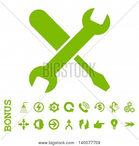 Tuning glyph icon. Image style is a flat pictogram symbol, eco green color, white background.