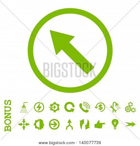Up-Left Rounded Arrow glyph icon. Image style is a flat iconic symbol, eco green color, white background.