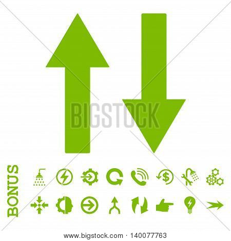 Vertical Flip Arrows glyph icon. Image style is a flat pictogram symbol, eco green color, white background.