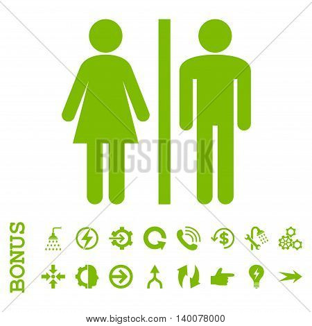 WC Persons glyph icon. Image style is a flat iconic symbol, eco green color, white background.