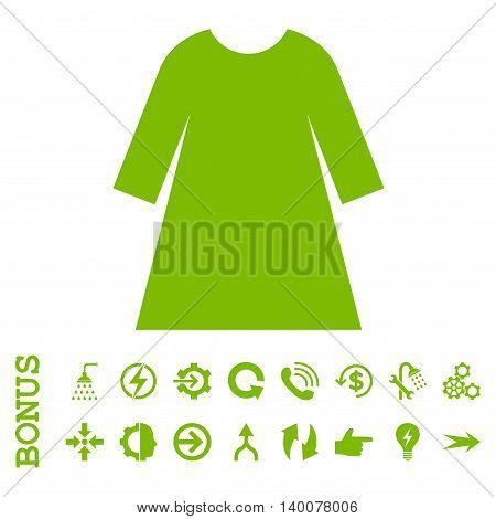 Woman Dress glyph icon. Image style is a flat iconic symbol, eco green color, white background.