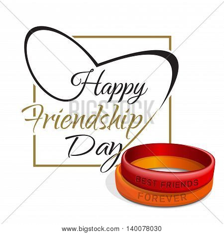 Friendship Day lettering card. Typographic design. Red orange friendship bands and lettering - Happy Friendship Day. Vector illustration