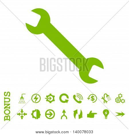 Wrench glyph icon. Image style is a flat iconic symbol, eco green color, white background.
