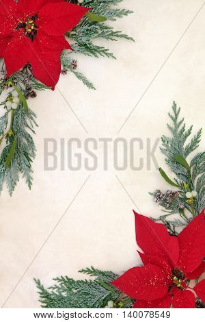 Poinsettia flowers with glitter forming a border with mistletoe and cedar cypress snow covered leaf sprigs over old parchment paper background.