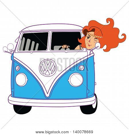 Hippie Girl Riding Vintage Blue Van Cartoon Vector Illustration