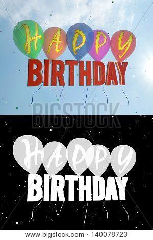 happy Birthday balloons. Alpha channel. 3D illustration