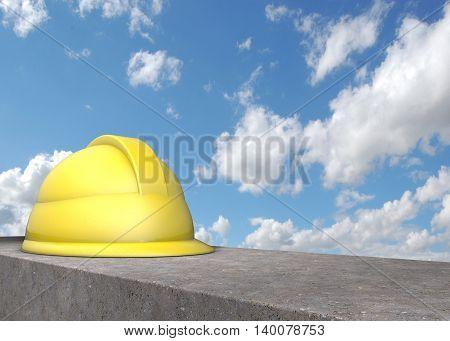 Helmet on concrete blocks against the sky. 3D illustration