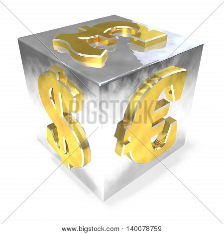 Metallic financial dice on the white background. 3D illustration