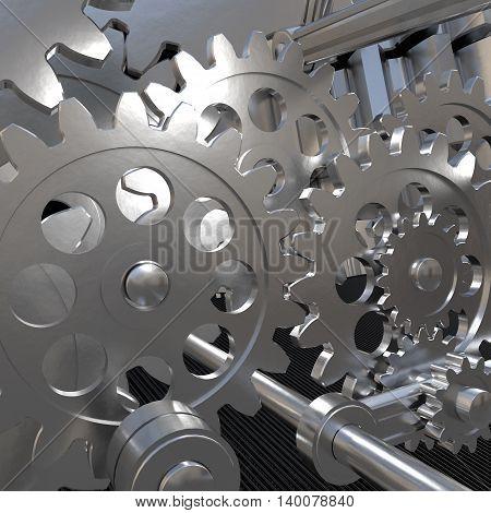 The mechanism of metal gears. 3d illustration