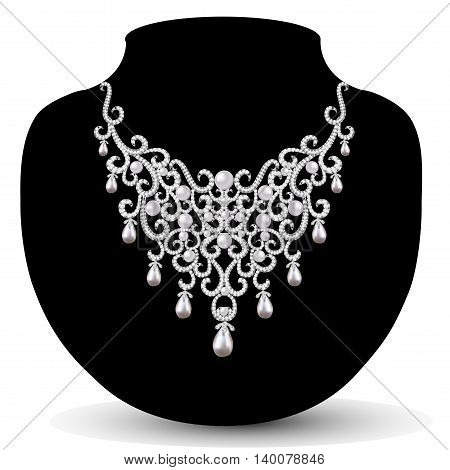 jewelry necklace female with beautiful pearls and precious stones