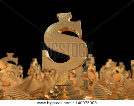 Golden dollar symbol on the pyramid and a black background. 3D illustration