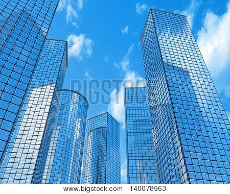 Six skyscrapers on a background of sky and clouds. 3d illustration
